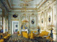 Salon jaune au palais Stroganov, tableau de Jules Meyblyum, Musée de l'Ermitage