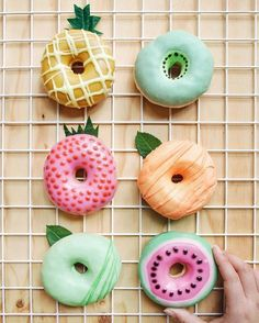 Cute fruit looking donuts.