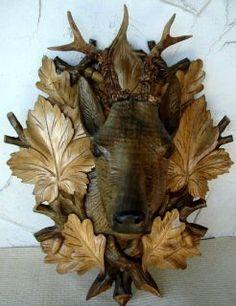 Black Forest Carved Deer Head