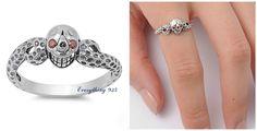 Sterling Silver 925 Ladies Mens Biker Skull Design Garnet Cz Ring 9Mm Size 4-12