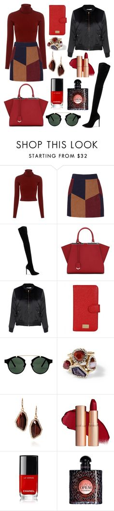 """#redwoman #powerfulwoman ❤❤❤"" by lekica ❤ liked on Polyvore featuring A.L.C., LaMarque, Oscar Tiye, Fendi, Glamorous, Dolce&Gabbana, Spitfire, Chloe + Isabel and Yves Saint Laurent"