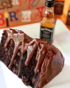 Jack Daniels Fudge Icing on Chocolate Cake!