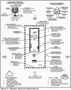 A diagram of the Tabernacle of Moses interior floor plan