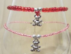 Teddy Bear Charm & Glass Beaded Anklet by Pizzelwaddels on Etsy, $8.97