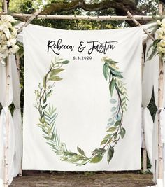 Botanical Wedding Decorations, Rustic Wedding Photo Booth Backdrop, Rustic Wedding Decor, Wedding Backdrop for Reception, Fabric Backdrop Wedding Tips, Wedding Events, Wedding Planning, Wedding Day, Budget Wedding, Wedding Reception, Green Wedding, Wedding Table, Party Planning