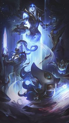 3 set illustration for the Cosmic skinline (League of Legends). Ashe the queen of the cosmos. Xin Zhao her Royal Guard keeping the balance of light and dark. And Lulu supporting and creating life. Together they form the Cosmic Royal Court. I imagined Ashe Lol League Of Legends, League Of Legends Fondos, League Of Legends Personajes, Akali League Of Legends, League Of Legends Characters, Legend Of Legends, Master Yi, Xin Zhao, League Of Angels