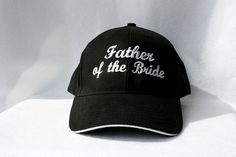 WEDDING Hat - Father of the Bride - Baseball Cap - Black White trim - Personalized - Rehearsal Dinner - Favor - Embroidery