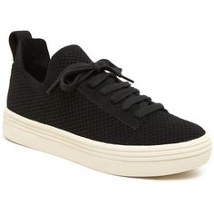 Dolce Vita Tatum Lace Up Platform Sneakers (285 BRL) ❤ liked on Polyvore featuring shoes, sneakers, black, black platform sneakers, platform trainers, laced up shoes, platform shoes and black trainers
