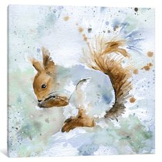 "Loon Peak Squirrel Painting Print on Wrapped Canvas Size: 18"" H x 18"" W x 0.75"" D"
