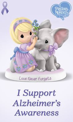 Hope comes by the trunkful with this Precious Moments Alzheimer's awareness figurine. A portion of the proceeds from each sale will be donated directly to Alzheimer's research.
