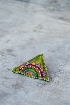 Ethnic lime green brooch with colorful embroidery and silver beads. Summer brooch, natural and eco friendly