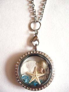 A true Nautical themed unique Floating Charm Locket Necklace on Etsy: https://www.etsy.com/listing/224341045/beach-memories-floating-charm-living?ref=listing-shop-header-3