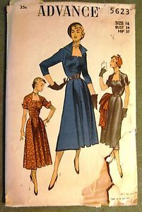 Vintage-Original-Advance-50s-Cocktail-Daytime-Dress-Pattern-No-5623