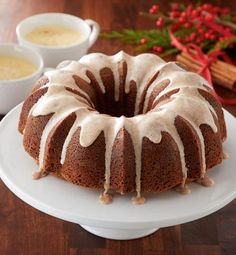 Eggnog boosts the time-honored Bundt cake to new heights by lending it the subtle, sweet-and-spicy flavors of a traditional creamy holiday beverage. The nutmeg icing sweetens the deal!