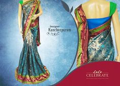 Beautiful Kancheepuram sarees always hold an unique sphere in our Indian tradition. This dazzling Designer Kancheepuram in turquoise blue with multi border will make your auspicious occasion special. Upada body design and contrast blouse pattern will make your saree stately, rich ,ravishing and complete.   #LuluCelebrate