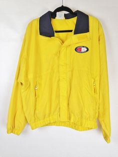 f5d289503ed Fahrenheit Yellow Carmel Bay California Windbreaker Rain Jacket Size L   fashion  clothing  shoes
