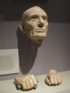 Plaster Lincoln Life Mask cast by American Sculptor, Leonard Volk, April 1860. Volk later cast Lincoln's hands. His right hand was still swollen from shaking so many supporters' hands after be nominated as the Republican Party nominee. To steady his hand in the mold, Lincoln cut off a piece of a broom handle to hold for the casting. Volk later placed the piece of handle in the cast displayed here.  *s*