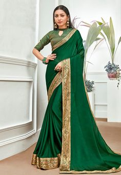Buy Green Chiffon Saree With Blouse 201201 with blouse online at lowest price from vast collection of sarees at Indianclothstore.com. Latest Indian Saree, Indian Sarees Online, Latest Sarees, Designer Sarees Collection, Latest Designer Sarees, Saree Collection, Chiffon Saree, Chiffon Fabric, Celebrity Gowns