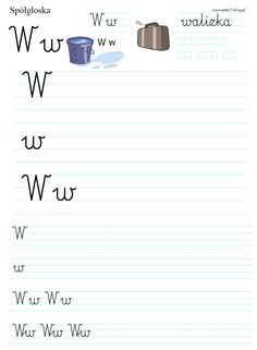 LITERKA W | BLOG EDUKACYJNY DLA DZIECI Polish Language, Worksheets For Kids, Handwriting, Montessori, Classroom, Teaching, Education, Calligraphy, Class Room