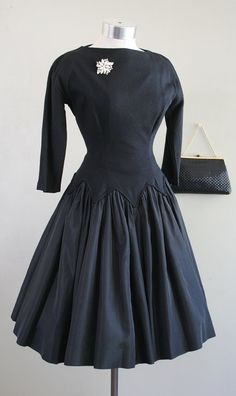 This dress is yummy vintage perfection.it features a drop waist with zig-zag detail. The bodice is of a wool knit and is fully lined, and the 1950s Party Dresses, Museum Wedding, Andy Warhol, Dress Form, 1950s Fashion, Drop Waist, Wedding Attire, Zig Zag, Bodice