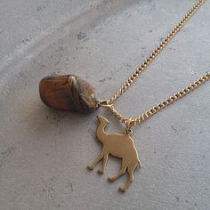 Arabian Collection - Anmar - gorgeous gold camel necklace with real tiger eye stone necklace