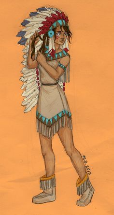 by meabhd: Day 6 with Piper as a traditional Native American. She strikes me as someone who would be very proud of her heritage :)