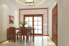 Original Chinese Dining Room Design Rendering Antique Wooden Fence Picture listed in: retro dining room, Ikea Dining Room Furniture, Ikea Dining Room Sets, Retro Dining Rooms, Dining Room Design, Asian Interior Design, Interior Design Inspiration, Chinese Interior, Decorating Small Spaces, Decorating Ideas
