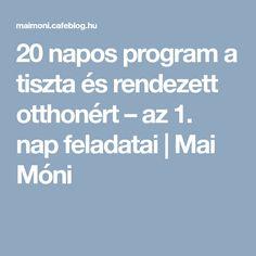 20 napos program a tiszta és rendezett otthonért – az 1. nap feladatai | Mai Móni Monet, Life Hacks, Organizers, Cleaning, Decor, Creative, Decoration, Planners, Organizing Tips
