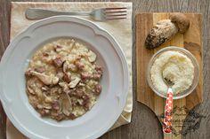 Risotto funghi porcini e salsiccia.