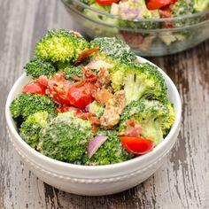Creamy Broccoli and Bacon Salad Recipe Salads with broccoli florets, cherry tomatoes, purple onion, crumbled bacon, avocado, lemon, salt, pepper