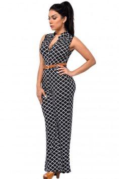 9223362de3e5 Black   White Lattice Print Belted Wide Leg Jumpsuit Plus size XL-2X