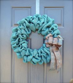 Burlap Wreath  Blue Burlap Wreath  Wreath by WreathsByRebeccaB, $40.00