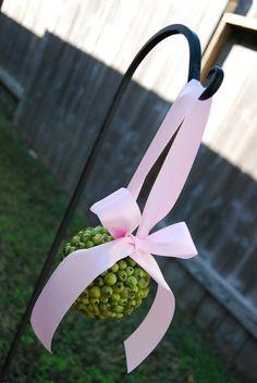 Green Berry Flower Girl Pomander  Pale PInk by MackensleyDesigns, $16.00