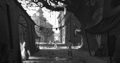 Concept Art for Grimmgard by Ryan Richmond. Digital Painting, Black and White Illustration at http://www.ryanrichmond-art.com