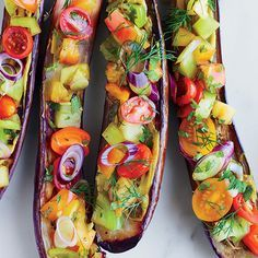 7 Red Wine-Friendly Vegetarian Dishes | Miso-Roasted Eggplants with Tomatoes, Dill, Shiso and Black Vinegar