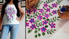 Fabric Painting Design on Top / Kurti   Flower print Hand Painted Design...