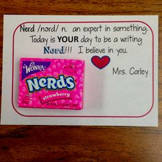 Good luck note for 5th grade writing test...kids loved it!