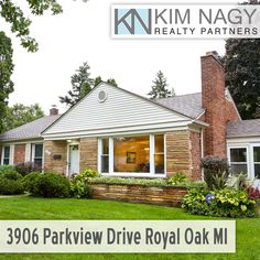 Just Listed | 3906 Parkview Drive, Royal Oak  Gorgeous brick and stone ranch on huge, lushly landscaped corner lot! Well maintained and thoughtfully updated by longtime owners, this home features a spacious open floor plan including light-filled living room with plaster coved ceilings, big picture window and natural fireplace and generously sized dining room with doorwall to three season sun porch. Updated kitchen offers expansive granite counters with breakfast bar, abundant