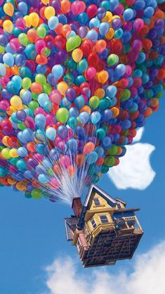 In the Disney/Pixar movie UP there is a scene where the editor forgot to edit all the balloons making the house float out of the shot. Cartoon Wallpaper, Ios 7 Wallpaper, Disney Phone Wallpaper, Tumblr Wallpaper, Galaxy Wallpaper, Screen Wallpaper, Disney Movie Up, Up The Movie, Cute Disney