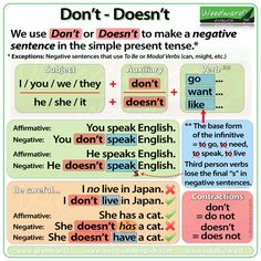 Don't and Doesn't in English – Simple Present Tense – Negative Sentences
