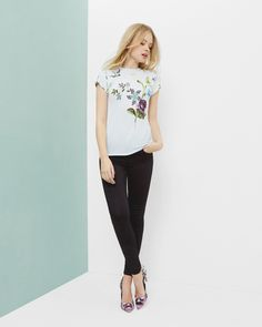 Spring Meadows fitted T-shirt - Pale Blue | Tops & T-shirts | Ted Baker UK