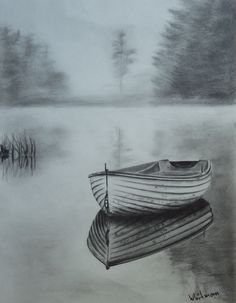 Misty row boat sketch, water reflections. Original art, graphite pencil drawing by Elena Whitman. #pencildrawings