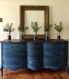 Vintage French Provincial Dresser Painted Annie Sloan Aubusson Blue Farmhouse Cottage Style
