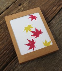 blank note card set / japanese maple by Modern Printed Matter, boxed stationery set, fall