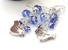 Blue bird earrings sterling silver earwires
