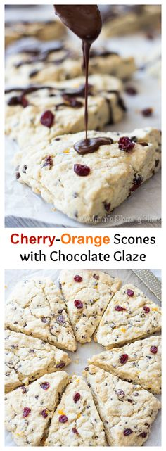 Sour cherry and orange scones with a chocolate ganache glaze. These scones are full of mini chocolate chips, dried sour cherries, and fresh orange juice. A perfect breakfast!