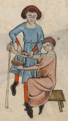 Detail from The Luttrell Psalter, British Library Add MS 42130 (medieval Medieval World, Medieval Castle, Medieval Art, Vintage Oddities, Late Middle Ages, Historical Artifacts, Medieval Manuscript, Medieval Clothing, Word Pictures