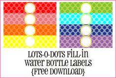 Free Water Bottle Labels - © Piggy Bank Parties