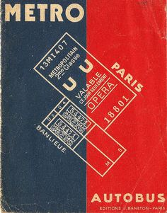Paris Metro map or plan cover, by Editions Baneton, c1945?