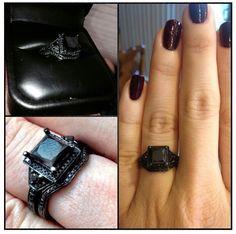 Gothic-style black diamond engagement ring